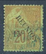 Reunion 1891  N. 30  C. 15 Su C. 20 Rosso Mattone Usato Cat. € 25 - Used Stamps