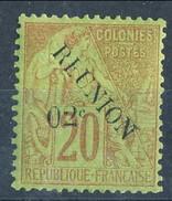 Reunion 1891 N. 29 C. 02 Su C. 20 Rosso Mattone MLH Cat. € 18 - Unused Stamps