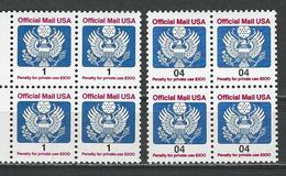 USA.Scott # O 143,46 MNH Block Of 4.  Official Stamps. 1989-91 - Officials