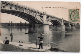 CPA.69.Givors.Pont De La Méditerranée.animé Personnages.homme Avec Canne à Peche. - Givors