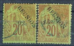 Reunion 1891 Serie N. 29-30 C. 02 Su C. 20 E C. 15 Su C. 20 Rosso Mattone Usati Cat. € 43 - Used Stamps