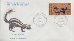 Enveloppe  FDC  1er  Jour  TERRITOIRE  FRANCAIS   Des   AFARS  Et  ISSAS   Faune   1975