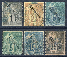 Reunion 1891 Lotto Di 6 Valori Della Serie N. 17-28 Usati Cat. € 32 - Gebruikt