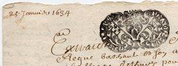 1634 - Document Manuscrit - Généralité D'Alençon -  Taxe 1 Sol Et 4 Deniers - Seals Of Generality