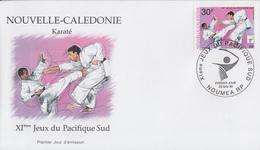 Enveloppe  FDC  1er  Jour   NOUVELLE  CALEDONIE     Karaté      XIéme  Jeux  Du   Pacifique  Sud    1999