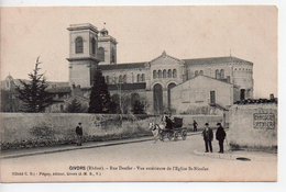 CPA.69. Givors.Rue Denfer.Vue Extérieure De L'Eglise Saint Nicolas.animé Attelage Personnages - Givors