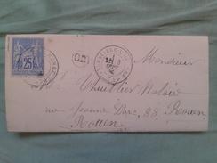 UNE LETTRE DE 1877 AVEC TIMBRE ET DES CACHES ET CACHES DANS CERCLE OR - 1876-1898 Sage (Tipo II)