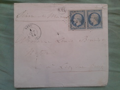 UNE ENVELOPPE DE AVEC DEUX TIMBRES DE NAPOLEON 3 ET CACHE DANS UN CERCLE OR ET CIRE - 1853-1860 Napoleone III