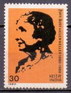 India 1980 Helen Keller, Medical, Health (1v) MNH (M-166)