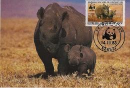 Centrafricaine - 1983 - N°Yv. 611 - Rhinoceros - Carte Maximum - WWF