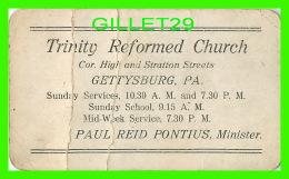 CARTE DE VISITE - TRINITY REFORMED CHURCH, GETTYSBURG, PA - PAUL REID PONTIUS, MINISTER - - Cartes De Visite