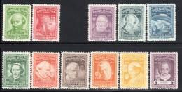 PANAMA - 1956 -  N°487/8 + 490/498  **  Série : PAPES  - NON EMIS - - Panama