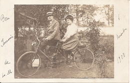 89 Cpa Carte Photo Gros Plan Vélo Tandem Belle Animation A Saisir (laroche Migennes) - Migennes