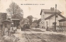 Cpa 94 Villecresnes La Gare Arrivée Du Train A Voir à Saisir Rare (seine Et Oise) - Stations With Trains