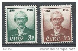 Irlande 1958 N°136/137 Neufs ** Le Patriote Thomas J. Clarke - 1949-... República Irlandése