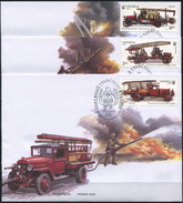 UKRAINE 2016 3 FDC FULL SET Fire Cars Fire Stairs Magirus Benz-Gaggenau - Ucrania