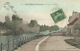 """SAINT-OUEN L'AUMONE - Le Quai   (papier """"toilé"""")                     -- Beaufils - Saint-Ouen-l'Aumône"""