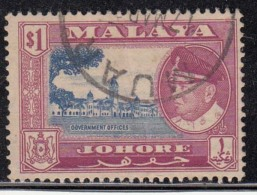 Johore $1.00 Used 1960, Government Office, Architeture Monument, Malaya - Johore