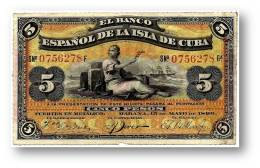 CUBA - 5 Pesos - 15 / 05 / 1896 - P 48.b - Serie 6.ª -  Overprint: PLATA - El Banco Español De La Isla De Cu - Cuba