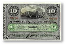 CUBA - 10 Pesos - 15 / 05 / 1896 - P 49.d - Serie 5.ª -  Overprint: PLATA - El Banco Español De La Isla De C - Cuba