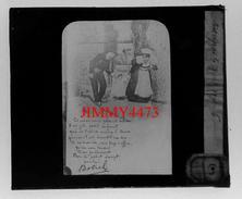 """Plaque Photo De Verre - """" Par Le Petit Doigt """" BRETAGNE - Les Chansons De BOTREL Par E. H. - (6) Bien Animée - Plaques De Verre"""