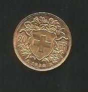 GOLDVRENELI Vreneli 20 Franken, Gold Goldmünze 1935 - Suisse