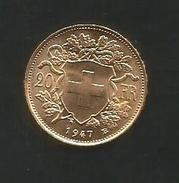 GOLDVRENELI Vreneli 20 Franken, Gold Goldmünze 1947 - Suisse