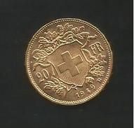 GOLDVRENELI Vreneli 20 Franken, Gold Goldmünze 1949 - Suisse