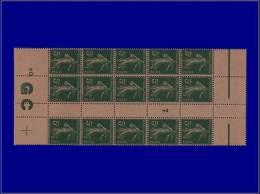 """Qualité: XX – 137, Bloc De 15, Millésime """"7"""", Manchette GC Chamois: 5c. Vert Semeuse. Cat Price... - Stamps"""