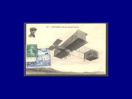 """137, Sur Porte Timbre Bleu (défaut), Avec Cac. Hexagonal """"Port Aviation 15/10/09"""" Sur Cp """"Aviateur Paulhan"""". - Stamps"""