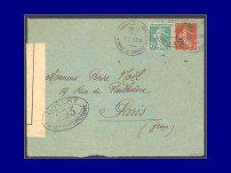 137 + 138, Env. Censurée, Cac. D'essai Evian Les Bains 7/2/17, (Opérations Financières). - Stamps
