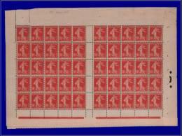 Qualité: XX – 134, Feuille De 50, Sans Millésime: 10c. Rouge Semeuse. Cat Price €: 400 - Stamps
