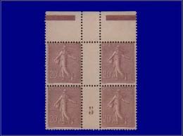 """Qualité: XX – 131, Bloc De 4, Bdf, Millésime """"5"""", Luxe: 20c. Semeuse Lignée. Cat Price... - Stamps"""