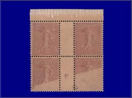Qualité: XX – 131, Bloc De 4, Millésime 3, Impression Recto-verso, Luxe: 20c. Semeuse... - Stamps