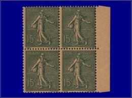 Qualité: XX – 130, Couleur Non émise Vert Sur Papier Jaune Indien, Bloc De 4, Bdf: 15c. Semeuse... - Stamps