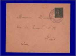 """130, Sur Enveloppe, Cachet Provisoire Violet """"Lille Reconquis"""" + Arrivée Paris 26/10/18. - Stamps"""