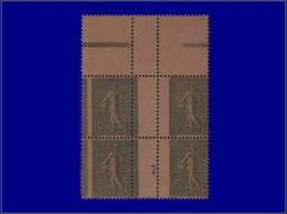 """Qualité: XX – 130, Bloc De 4, Millésime """"7"""", Papier GC, Bdf, Piquage Vertical à Cheval... - Stamps"""