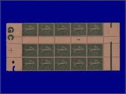 """Qualité: XX – 130, Bloc De 15, Millésime """"7"""", Manchette GC Chamois: 15c. Lignée. Cat... - Stamps"""