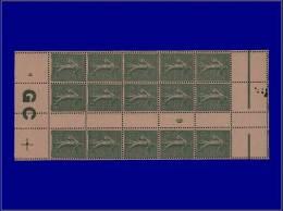 """Qualité: XX – 130, Bloc De 15, Millésime """"9"""" Avec Manchette GC Chamois: 15c. Lignée. Cat... - Stamps"""