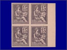 Qualité: (X) – 117, Bloc De 4, Essai Sur Carton En Violet: 15c. Mouchon. - Stamps