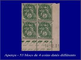 Qualité: XX – 111, Collection De 53 Blocs De 4 Coins Datés Différents (1926/32): 5c.... - Stamps