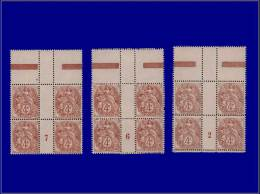 """Qualité: XX – 110, 3 Blocs De 4, Milléisme """"2 - 6 - 7"""": 4c. Blanc. Cat Price €: 190 - Stamps"""