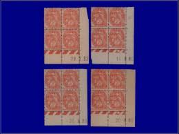Qualité: XX – 109, 4 Blocs De 4, Cd Différents 1930/1932: 3c. Blanc. Cat Price €: 150 - Stamps