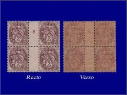"""Qualité: XX – 108, Bloc De 4, Millésime """"8"""", Recto-verso, (non Signalé): 2c. Blanc. - Stamps"""