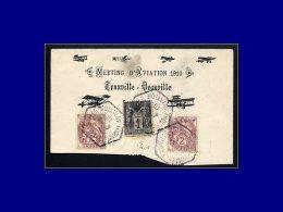 """108, Sur Enveloppe (incomplète) Illustrée, Cad Hexagonal """"Trouville Deauville Aviation 4/9/10"""". - Stamps"""