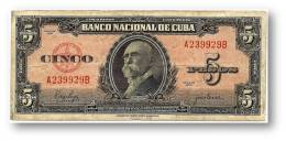 CUBA - 5 Pesos - 1950 - P 78.b - Serie A - Maximo Gomez - Banco Nacional De Cuba - Cuba