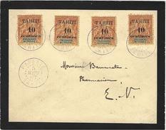 1907- Enveloppe De Deuil Affr. N°32 X 4  Oblit. PAPEETE / TAHITI   ( Collection Multiples )