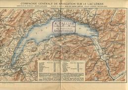 Compagnie Generale De Navigation Sur Le Lac Leman 1929 - Karte 21cm X 32cm - Flotte De La Compagnie - Rückseitig Fahrpla - Landkarten