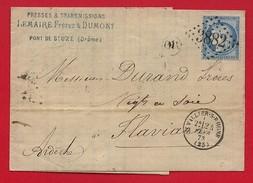 Pli - GC 3882 St Vallier Sur Rhône (Drôme) OR - Lettre Vers Flaviac (Ardèche) 1873 - Marcophilie (Lettres)
