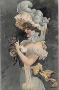 CPA Art Nouveau Femme Girl Woman Non Circulé Gaufré Chat Cat - Ilustradores & Fotógrafos